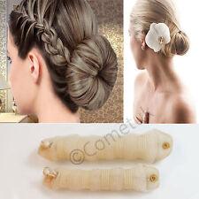 2Pcs Magic style Hot Buns Hair Styling Doughnut Bun Maker Tool Ring Shaper Blond
