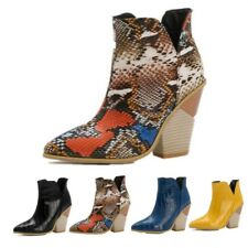 Women Ankle Cowboy Boots Western Chunky Heels Pointy Toe Stage T Show Shoes D