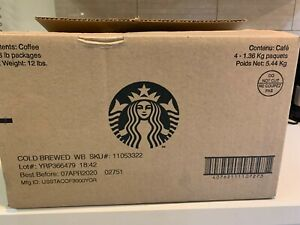 LOT of 4 Starbucks Cold Brewed Whole Bean Coffee 3 LBS Bags Fresh EXP 04/2020