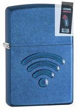 Zippo 29716 WiFi Stamp Cerulean Blue Finish Full Size Lighter + FLINT PACK