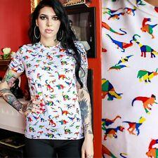 Rainbow Dinosaur Print T Shirt by Run and Fly Multicoloured Unisex XS-XXL