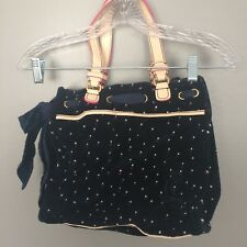 Juicy Couture Handbag Velour Blue Polka Dot Tan Leather Handle Satchel Purse