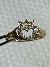14 K Yellow Gold Claddagh 2.21 G Size 7 Crown Heart Hands Ring