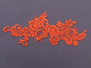 23cm by 8cm BEAUTIFUL GUIPURE / VENISE APPLIQUEWITH FLOWERS IN RED ref AP6