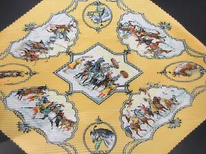 Auth Excellent HERMES Pleated Scarf 100% Silk LES CHEVAUX DES MOGHOLS 92120