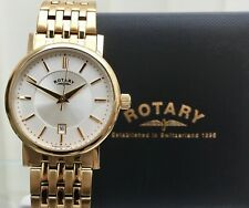 Mens ROTARY watch Gold plated Slim Champagne dial Date RRP £230 Used Boxed
