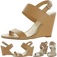 Jessica Simpson Women's Wyra Faux Leather Wedge Heel Sandal