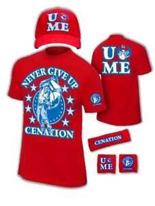 John Cena Mens Red Costume Hat T-shirt Wristbands
