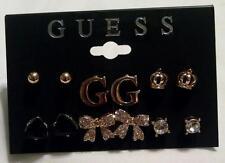 NEW GUESS Rhinestone Gold Earrings 6 Pair Orig $35