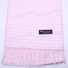 Women 100% CASHMERE Baby Pink/White Houndstooth Scarf MADE IN SCOTLAND