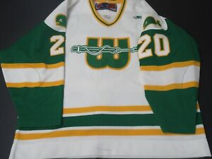 New England Whalers WHA throwback jersey size 58 Hartford hockey pro weight