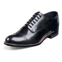 Mens shoes Original Stacy Adams Biscuit Black leather Madison cap toe 00012-01 E