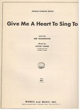 """""""GIVE ME A HEART TO SING TO"""" PIANO/VOCAL/GUITAR/CHORDS SHEET MUSIC-1934-RARE-NEW"""
