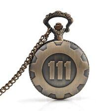 Bronze Pocket Watch Fallout 4 Vault 111 Electronic Games Necklace Chain Pen W7D5