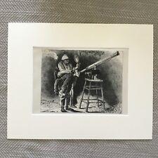 1875 Antique Imprimé Japonais Fans Astronomie Téléscope Ancien Japon