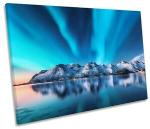 Northern Lights Mountains Print SINGLE CANVAS WALL ART Picture Blue