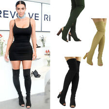 Ladies Women Thigh High Over The Knee Peep Toe Stretch Knit Block Heel Boots 3-8