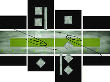 Large Lime Black Grey Abstract Canvas Picture Wall Art Split Multi 4 Panel Set
