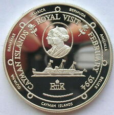 Cayman 1994 Royal Visit Dollar Silver Coin,Proof