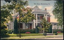 BLOOMSBURG PA BOPE Elks Home Vintage Town View Old Postcard Pennsylvania PC