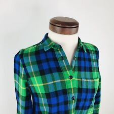 Madewell Green Blue Yellow Plaid Thick Button Down Top Shirt  |  Womens S
