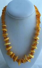 Vintage Real Natural Egg Yolk Butterscotch Amber Nugget Necklace w/Screw Clasp