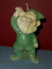 Vintage Elf Gnome Candle Holding Mushroom Retro 1970s Wax Elf Figural