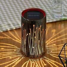 LED Solarlampe Tamol Metall Zylinder Silber Gold Muster Lindby Garten Balkon