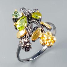 Handmade Natural Peridot 925 Sterling Silver Ring Size 9/R108148