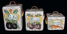3 Intrada? Italy HVY Lrg Distressed Pottery Canisters Pasta Farina Zucchero EXC