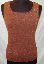 51cec62d0d39ee Coldwater Creek S Brown Sparkly Shell Sweater Vest Silk Blend Womens Tank  Top