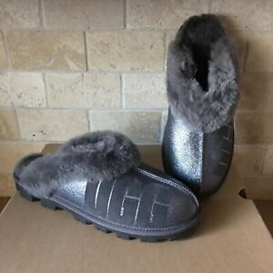 UGG COQUETTE LOGO SPARKLE CHARCOAL GREY FUR CUFF SHOES SLIPPERS SIZE 12 WOMENS
