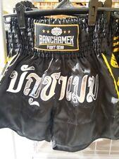 Buakaw Gym Shorts Pants Muay Thai Boxing Ban-Cha-Mek Thai Language Black Color