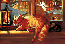 RED CAT and KITTEN dream about ANGEL HORN Modern Russian postcard by M.Pavlova