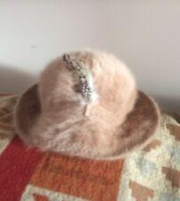 Vintage Kangol Angora Fur Hat Winter Light Brown Chic Designer England Feather