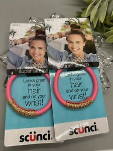 Scunci Look Good On Hair And Wrist Super Stretch Pink Gold Lot 2 Pack