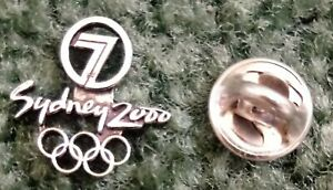 2000 Channel 7 Sydney Olympic Pin Press Media Logo Rings Silver Version Small