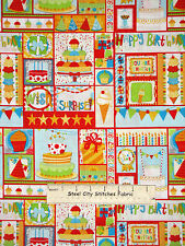 Birthday Celebration Kids Bobunny Cotton Fabric Riley Blake C3950 Surprise YARD