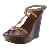 Elizabeth and James Hazel Snake Embossed T-Strap Wedge Sandals $295 NEW
