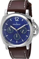 PEUGEOT Hombres ' Plata Multi Función ' Cuarzo Cuero Reloj Deportivo 2056sbl