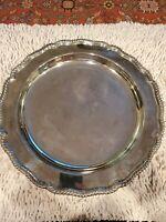 "International Silverplate Platter Round Tray Ornate 13.75"" english gadroon"