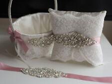 Lace Bearer Pillow Mauve Flower Wedding Flower Lace Ring Girl Basket Set