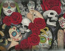 Nocturna skulls roses Day of the Dead Alexander Henry fabric