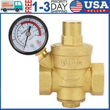 DN20 NPT 3/4'' Adjustable Brass Water Pressure Regulator Reducer W/ Gauge Meter