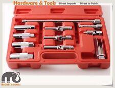 """11pc 3/8"""" Dr. Cr-V Socket Set Universal Joint f Spark & Glow Plug Oxygen Sensor"""