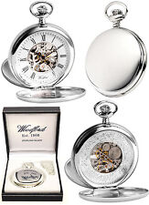 Woodford Sterling Silver Twin Lid Skeleton Pocket Watch with Free Engraving 1097
