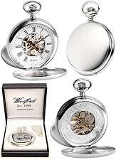 Reloj de Bolsillo venta Woodford Plata Esterlina Doble Tapa Esqueleto Grabado Gratis 1097