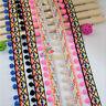 1,10 Yards Rainbow Pom Pom Tassel Trimming Ribbon Applique DIY Craft Sewing Gift