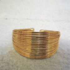Wide Goldtone Multi Wire Bangle Cuff Bracelet