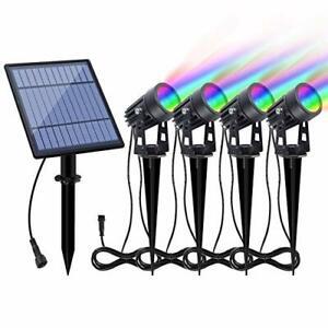 Solar Spotlights RGB Landscape Lights Color Changing Low Voltage Outdoor Solar S